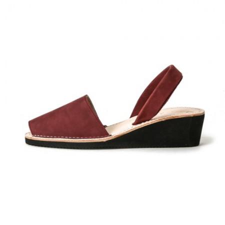西班牙传统女士皮凉鞋(酒红色34)