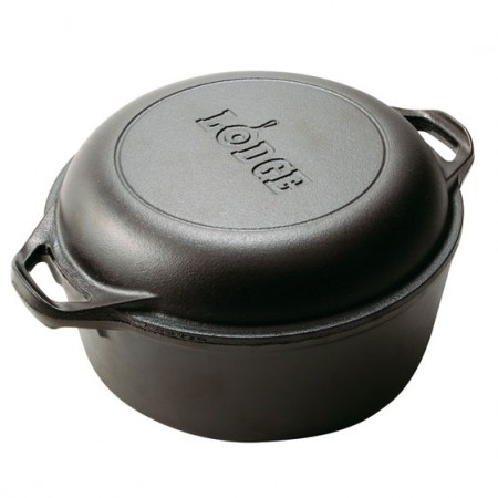 [Lodge洛极]美国原产 健康无涂层铸铁深型炒锅煎锅两件套26cm L8DD3