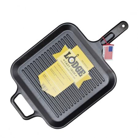 [Lodge洛极]美国原产 平底(电磁炉通用)方形无涂层铸铁条纹牛排煎锅30.5