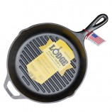 [Lodge洛极]美国原产 健康无涂层圆形横纹牛排煎锅烤盘27cm L8GP3