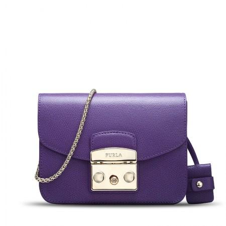 直邮 Furla 链条斜跨小号包 紫色