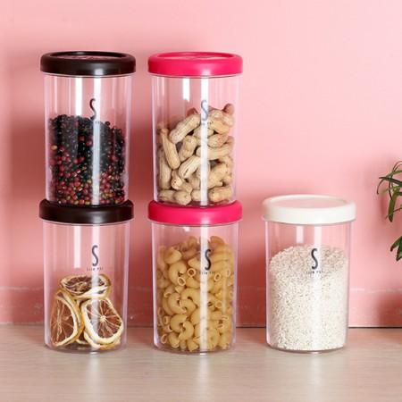 [inomata]密封透明收纳储物罐5个装