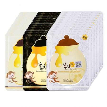 直邮papa recipe春雨蜂胶蜂蜜面膜3盒 黄色补水+黑色控油+白色提亮 补水控油提亮 全方位护理肌肤