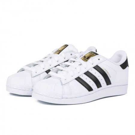 直邮 Adidas Superstar经典贝壳头情侣鞋 黑白配金标