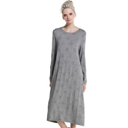 MAREUNROLS 长款宽松纯色提花连衣裙·灰色