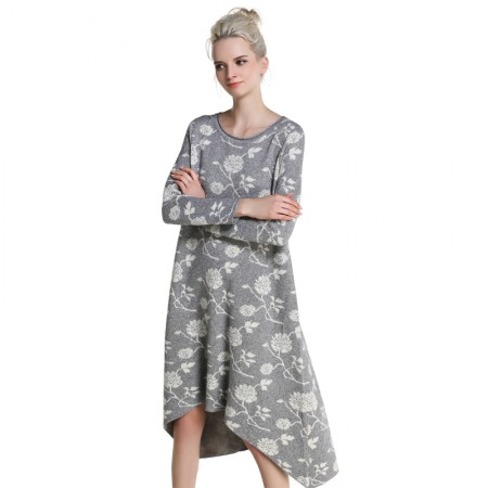 MAREUNROLS 提花不规则下摆连衣裙·灰色
