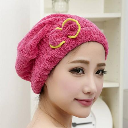 [JM]韩式强力吸水长短毛多功能三合一干发帽(玫红色)