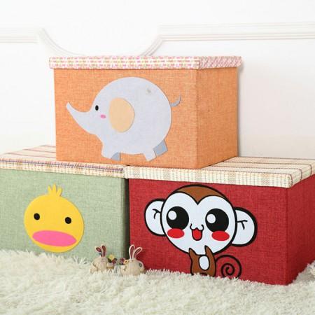 [JM]家居卡通麻布收纳箱大号储物箱整理箱 收纳凳 (3个装)