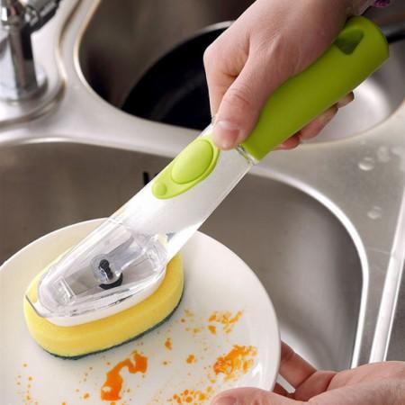 [JM]家居韩版良品自动添加洗洁精去污刷(一个刷头+一个海绵头)