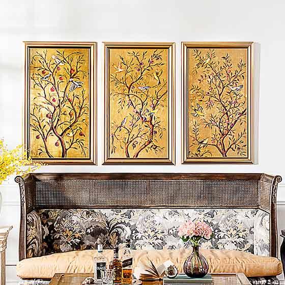 奇居良品 欧式玄关客厅卧室墙面有框装饰挂画金色财富树