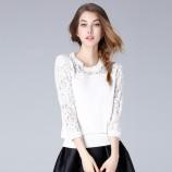 OLiSi 白色时尚优雅蕾丝拼接针织衫·白色