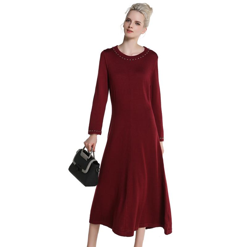 MAREUNROLS 纯色提花钉珠长裙·酒红
