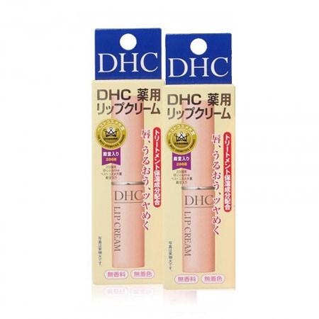 保税仓直邮 2支 日本DHC无色天然橄榄润唇膏1.5g 保湿滋润 男士女士通用