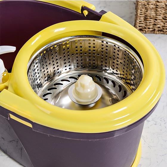奇居良品 手压自动甩干不锈钢拖把桶套装