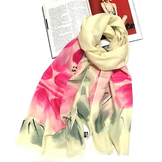 丁摩 羊毛手绘花色围巾(紫墨花)