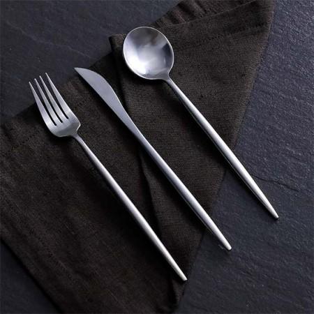 奇居良品 罗菲亚光银色不锈钢主餐刀叉勺 3件套
