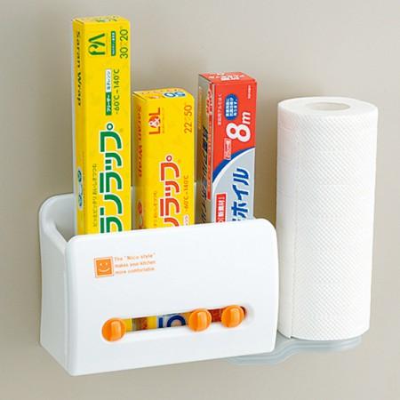 [inomata]带磁铁冰箱外侧保鲜膜厨房纸收纳架