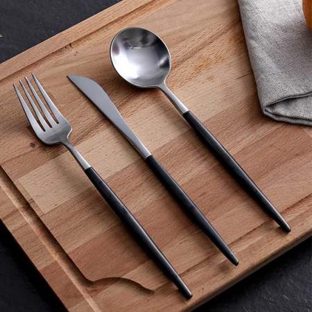 奇居良品 蒂亚亚光银黑不锈钢主餐刀叉勺 3件套