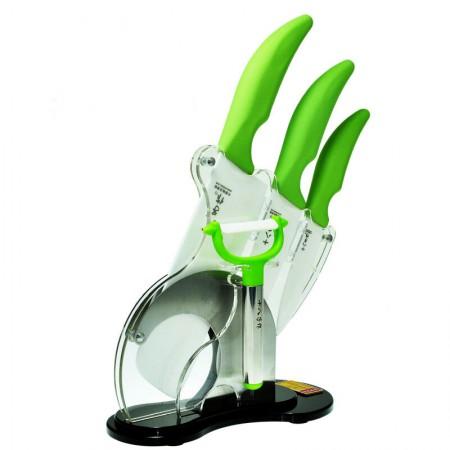 十八子作绿之韵五件套 厨房陶瓷刀菜刀刀具套装