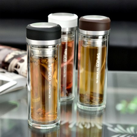 泰福高 耐热双层玻璃商务带茶漏办公杯茶杯400ML