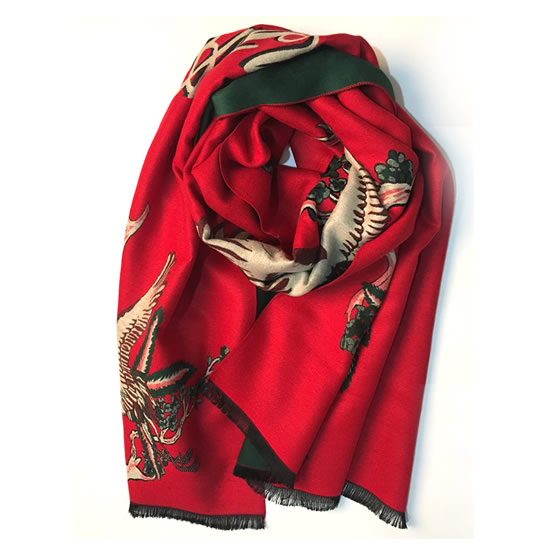 丁摩 羊绒仙鹤披肩围巾(加厚)hlfw041 红色