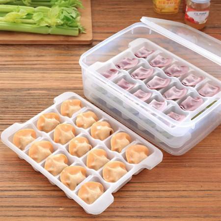 [JM]不粘底分格饺子馄炖冰箱保鲜收纳盒套装(3层)