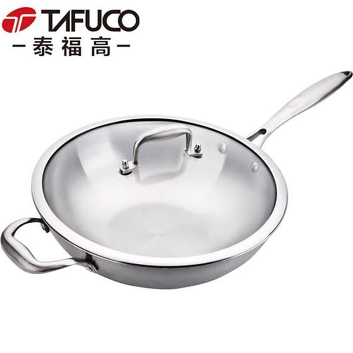 泰福高中式食品级不锈钢无油烟五层钢炒锅外径32CM