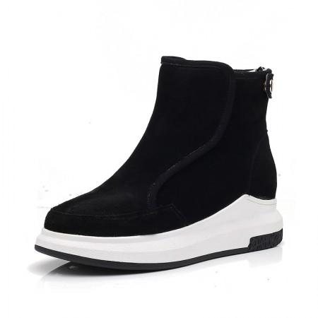 贝奴诗磨砂牛皮保暖加绒平底短靴真皮雪地靴女靴黑色