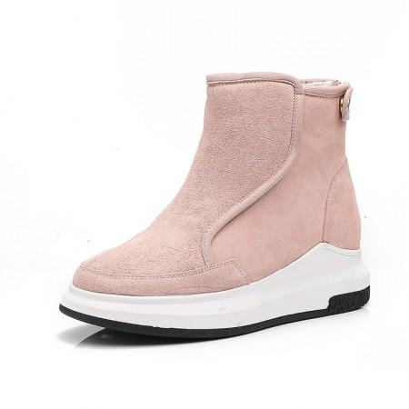 贝奴诗磨砂牛皮保暖加绒平底短靴真皮雪地靴女靴粉色