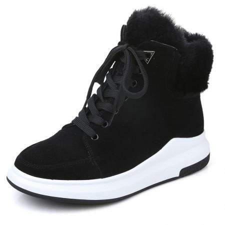 贝奴诗磨砂牛皮休闲圆头保暖短靴真皮系带平底雪地女靴黑色