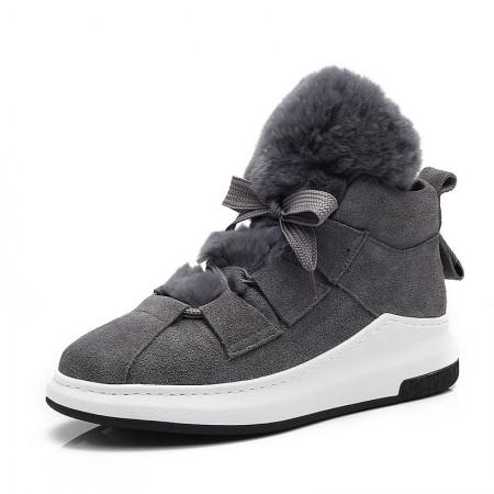 贝奴诗休闲兔毛牛皮磨砂圆头短靴真皮女鞋休闲鞋靴保暖雪地靴灰色