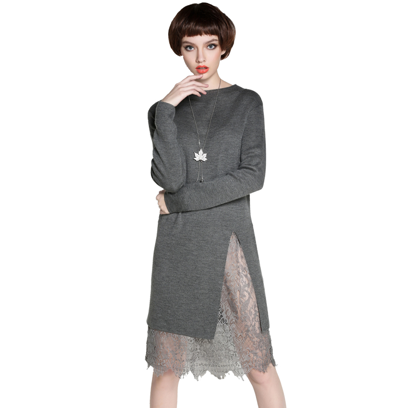 MAREUNROLS 纯色中长款蕾丝拼接针织连衣裙·黑色