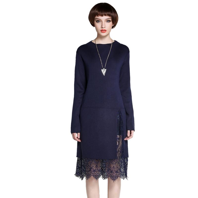 MAREUNROLS修身显瘦纯色中长款蕾丝拼接针织连衣裙