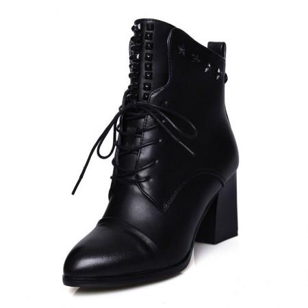 贝奴诗欧美牛皮粗跟中跟系带铆钉尖头真皮靴短靴马丁女靴黑色