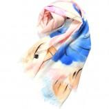 丁摩 羊毛手绘花色围巾(桔蓝花)