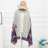 丁摩 羊绒格子蜜蜂披肩围巾(加厚)hlfw013 米白