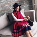 【柔软亲肤】丁摩羊绒拼色披肩围巾(加厚)hlfw031 紫色