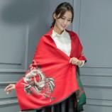 【柔软亲肤】丁摩 羊绒仙鹤披肩围巾(加厚)hlfw041 红色