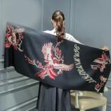 【柔软亲肤】丁摩 羊绒仙鹤披肩围巾(加厚)hlfw041 黑色