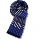 【柔软亲肤】丁摩 男士羊绒格子围巾hlfw052 蓝色