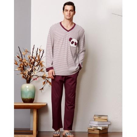 绮瑞男士纯棉针织熊猫爱心款舒适家居服套装