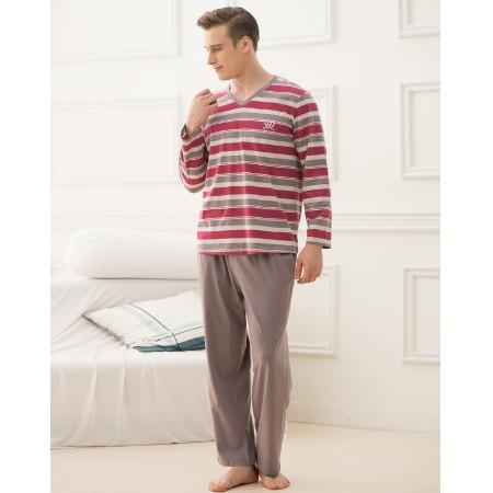 绮瑞男士优雅格纹针织纯棉家居服套装