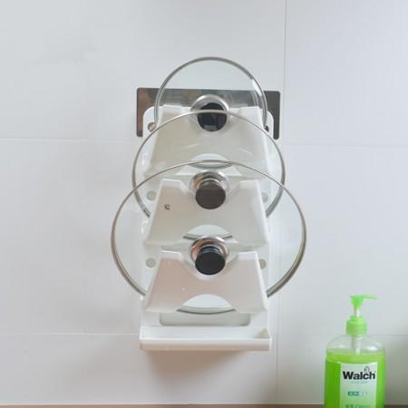[JM]家居韩式高品免钉强力贴厨房壁挂锅盖收纳架