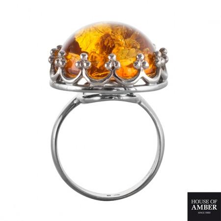 【丹麦设计师】银镶琥珀戒指