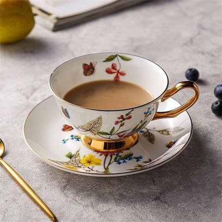 奇居良品 曲笛尔彩色花蝶骨瓷下午茶咖啡杯碟套装 1杯1碟