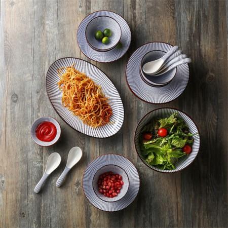 奇居良品 日式餐具套装 如意系列22头陶瓷餐具礼盒套装·礼盒套装