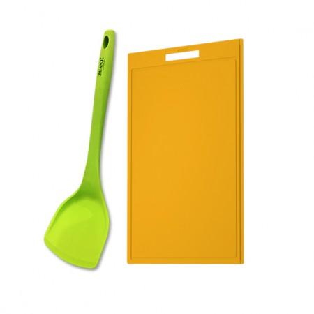 ZUANJ钻技 防滑硅胶砧板硅胶铲两件套·橘色