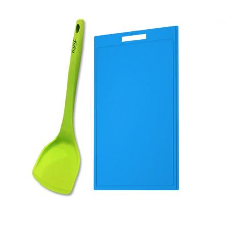 ZUANJ钻技 防滑硅胶砧板硅胶铲两件套·蓝色