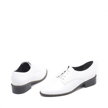 达芙妮系带羊皮简约时尚低跟粗跟女鞋1016404113·白色