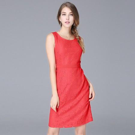 OLiSi 红色蕾丝舒适修身连衣裙·红色